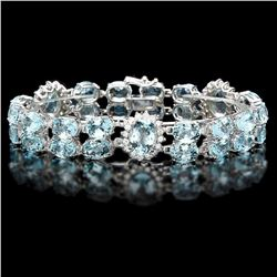 `14k W/G 40ct Aquamarine 1.85ct Diamond Bracelet