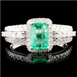 18K Gold 0.88ct Emerald & 0.63ctw Diamond Ring