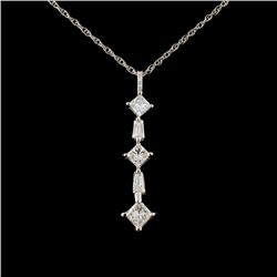 14K White Gold 0.85ctw Diamond Pendant