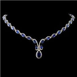 14K White Gold 25.15ct Sapphire & 2.07ct Diamond N
