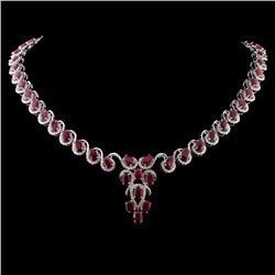 14K White Gold 26.96ct Ruby & 3.40ctw Diamond Neck
