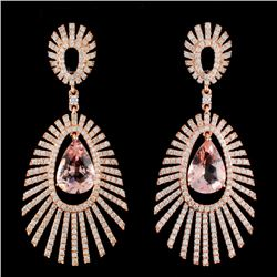14K Gold 6.79ctw Morganite & 3.55ctw Diamond Earri