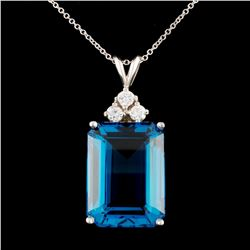 14K Gold 15ct Topaz & 0.24ctw Diamond Pendant