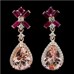 14K Gold 6.50ct Morganite & 0.67ctw Diamond Earrin