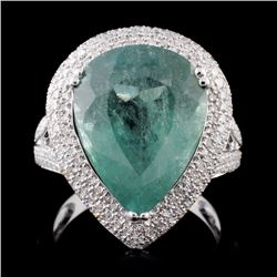 14K White Gold 8.23ct Tourmaline & 0.87ct Diamond