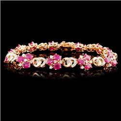 14K Gold 6.53ctw Ruby & 1.45ctw Diamond Bracelet
