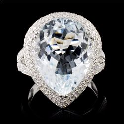 14K White Gold 7.16ct Aquamarine & 0.75ct Diamond