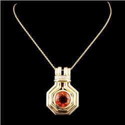14K Gold 2.50ct Citrine & 0.12ctw Diamond Pendant