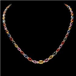 `14k Gold 31ct Sapphire 1.4ct Diamond Necklace