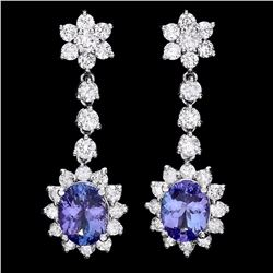 `14k Gold 3.5ct Tanzanite 2.8ct Diamond Earrings