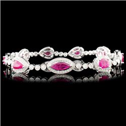 18K Gold 4.90ctw Ruby & 1.57ctw Diamond Bracelet