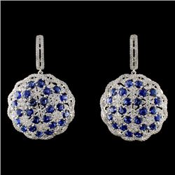 18K White Gold 10.00ct Sapphire & 3.32ct Diamond E