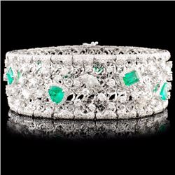 18K Gold 5.58ct Emerald & 10.30ctw Diamond Bracele