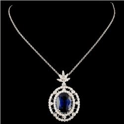 18K Gold 4.92ct Kyanite & 0.87ctw Diamond Pendant