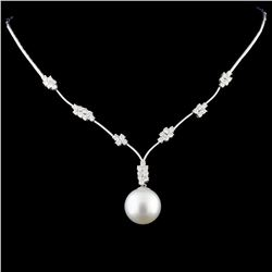 18K Gold 14MM Pearl & 1.82ctw Diamond Necklace