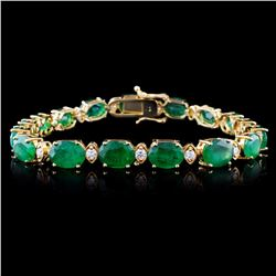 14K Gold 30.00ct Emerald & 1.50ct Diamond Bracelet