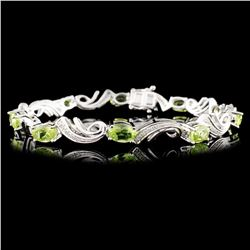 14K Gold 4.88ct Peridot & 0.25ctw Diamond Bracelet