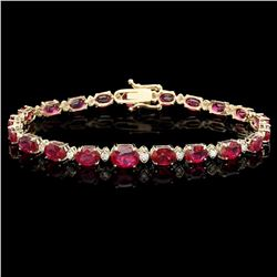 `14k Gold 17ct Ruby 0.75ct Diamond Bracelet