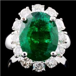 14K Gold 4.06ct Emerald & 1.45ctw Diamond Ring