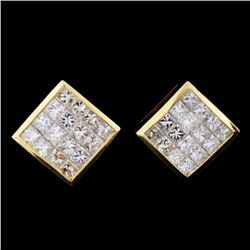 18K Yellow Gold 2.82ct Diamond Earrings