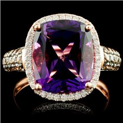 14K Gold 5.03ct Amethyst & 0.57ctw Diamond Ring