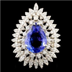 14K Gold 4.32ct Tanzanite & 1.38ctw Diamond Ring