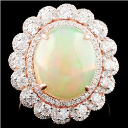 14K Gold 4.66ct Opal & 1.15 Diamond Ring
