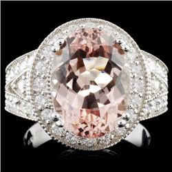 14K Gold 5.00ct Morganite & 1.40ctw Diamond Ring