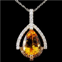 14K Gold 5.15ct Citrine & 0.71ctw Fancy Diamond Pe
