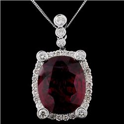 14K White Gold 25.00ct Rubellite & 4.23ct Diamond