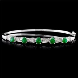 14K White Gold 1.74ct Emerald & 0.05ct Diamond Ban