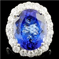 18K Gold 16.11ct Tanzanite & 3.06ctw Diamond Ring