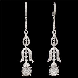 14K White Gold 1.67ctw Diamond Earrings