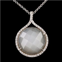14K White Gold 10.00ct Moonstone & 0.20ct Diamond