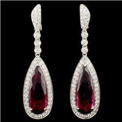 18K Gold 15.24ct Tourmaline & 2.77ctw Diamond Earr