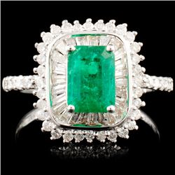18K Gold 1.00ct Emerald & 0.72ctw Diamond Ring