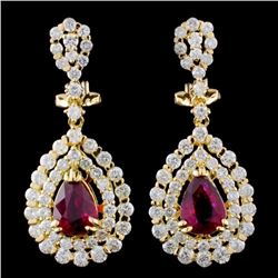 18K Gold 2.02ctw Ruby & 2.76ctw Diamond Earrings