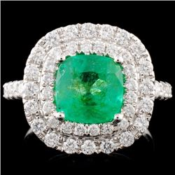 18K Gold 2.06ct Emerald & 0.91ctw Diamond Ring