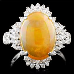 18K Gold 2.75ct Opal & 0.52ctw Diamond Ring