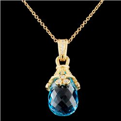 18K Gold 21.62ct Topaz & 0.24ctw Diamond Pendant