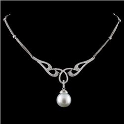 14K White Gold 13.00MM Pearl & 1.16ct Diamond Neck