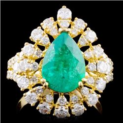 18K Gold 2.12ct Emerald & 1.68ctw Diamond Ring