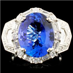 18K Gold 6.42ct Tanzanite & 1.66ctw Diamond Ring