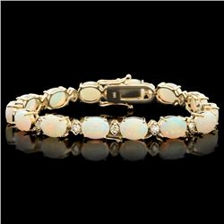 `14k Gold 15ct Opal 1.10ct Diamond Bracelet