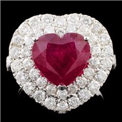 18K Gold 4.22ct Ruby & 1.81ctw Diamond Ring