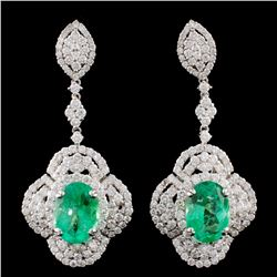 18K Gold 5.74ctw Emerald & 4.31ctw Diamond Earring