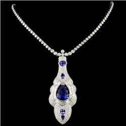 18K Gold 5.72ctw Tanzanite & 6.70ctw Diamond Neckl