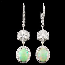 14K Gold 2.34ct Opal & 0.78ctw Diamond Earrings
