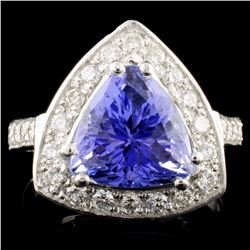 14K Gold 4.42ct Tanzanite & 0.66ctw Diamond Ring