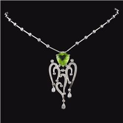 18K Gold 5.67ct Peridot & 1.54ctw Diamond Necklace